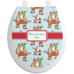 Santa on Sleigh Toilet Seat Decal (Personalized)
