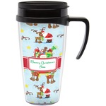 Santa on Sleigh Travel Mug with Handle (Personalized)