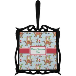 Santa on Sleigh Trivet with Handle (Personalized)