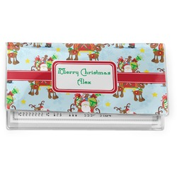 Santa on Sleigh Vinyl Check Book Cover (Personalized)