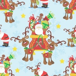 Santa on Sleigh Wallpaper & Surface Covering