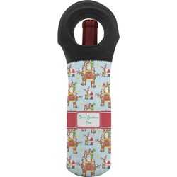Santa on Sleigh Wine Tote Bag (Personalized)