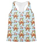 Santa on Sleigh Womens Racerback Tank Top (Personalized)