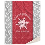 Snowflakes Sherpa Throw Blanket (Personalized)