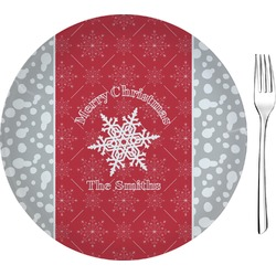 "Snowflakes Glass Appetizer / Dessert Plates 8"" - Single or Set (Personalized)"