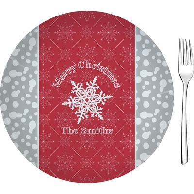 "Snowflakes 8"" Glass Appetizer / Dessert Plates - Single or Set (Personalized)"