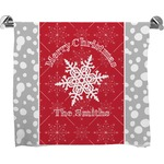 Snowflakes Full Print Bath Towel (Personalized)