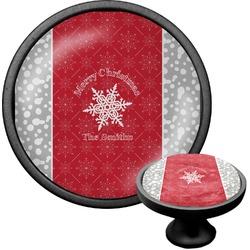 Snowflakes Cabinet Knob (Black) (Personalized)