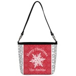 Snowflakes Bucket Bag w/ Genuine Leather Trim (Personalized)