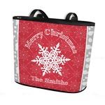 Snowflakes Bucket Tote w/ Genuine Leather Trim (Personalized)