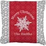 Snowflakes Faux-Linen Throw Pillow (Personalized)