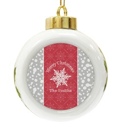 Snowflakes Ceramic Ball Ornament (Personalized)