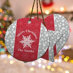 Snowflakes Ceramic Ornament w/ Name or Text