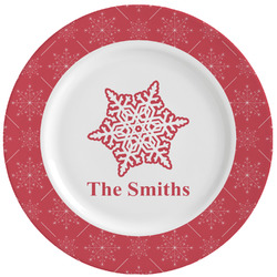 Snowflakes Ceramic Dinner Plates (Set of 4) (Personalized)