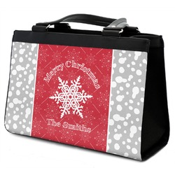 Snowflakes Classic Tote Purse w/ Leather Trim (Personalized)