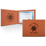 Snowflakes Leatherette Certificate Holder (Personalized)