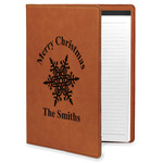 Snowflakes Leatherette Portfolio with Notepad (Personalized)