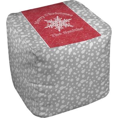 Snowflakes Cube Pouf Ottoman (Personalized)