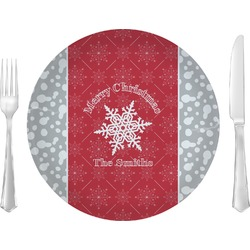 "Snowflakes Glass Lunch / Dinner Plates 10"" - Single or Set (Personalized)"
