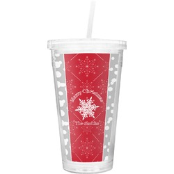 Snowflakes Double Wall Tumbler with Straw (Personalized)
