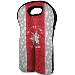 Snowflakes Wine Tote Bag (2 Bottles) (Personalized)