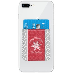 Snowflakes Genuine Leather Adhesive Phone Wallet (Personalized)