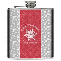 Snowflakes Genuine Leather Flask (Personalized)