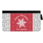Snowflakes Genuine Leather Ladies Zippered Wallet (Personalized)