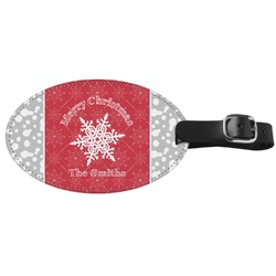 Snowflakes Genuine Leather Luggage Tag (Personalized)