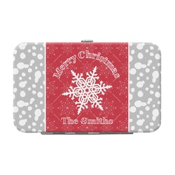 Snowflakes Genuine Leather Small Framed Wallet (Personalized)