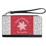 Snowflakes Genuine Leather Smartphone Wrist Wallet (Personalized)