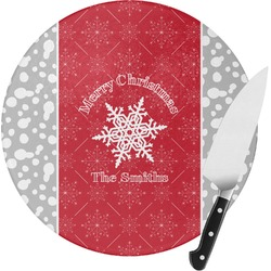 Snowflakes Round Glass Cutting Board (Personalized)
