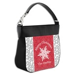 Snowflakes Hobo Purse w/ Genuine Leather Trim (Personalized)