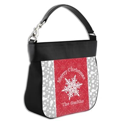 Snowflakes Hobo Purse w/ Genuine Leather Trim w/ Name or Text