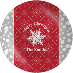 """Snowflakes Melamine Plate - 8"""" (Personalized)"""