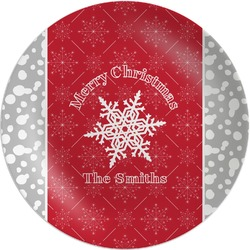 """Snowflakes Melamine Plate - 10"""" (Personalized)"""