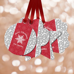 Snowflakes Metal Ornaments - Double Sided w/ Name or Text