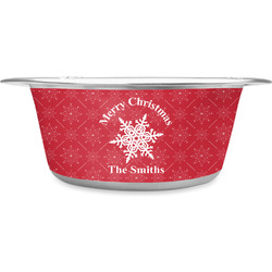 Snowflakes Stainless Steel Pet Bowl (Personalized)