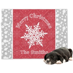 Snowflakes Minky Dog Blanket - Regular (Personalized)