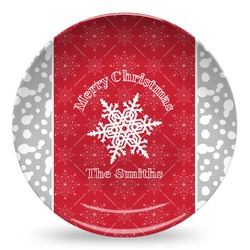 Snowflakes Microwave Safe Plastic Plate - Composite Polymer (Personalized)
