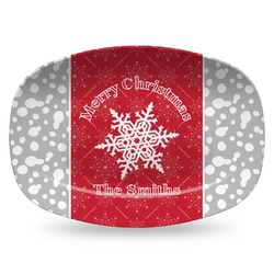 Snowflakes Plastic Platter - Microwave & Oven Safe Composite Polymer (Personalized)