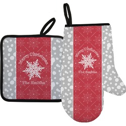 Snowflakes Oven Mitt & Pot Holder (Personalized)