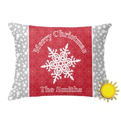 Snowflakes Outdoor Throw Pillow (Rectangular) (Personalized)