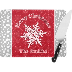 Snowflakes Rectangular Glass Cutting Board (Personalized)