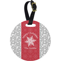Snowflakes Round Luggage Tag (Personalized)