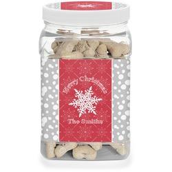 Snowflakes Pet Treat Jar (Personalized)