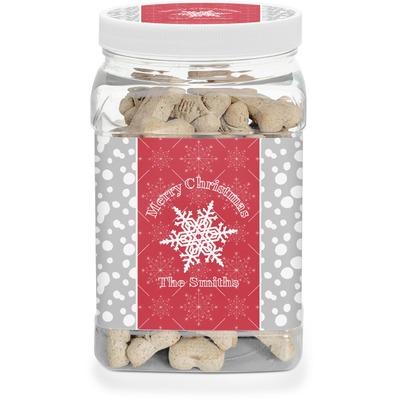 Snowflakes Dog Treat Jar (Personalized)