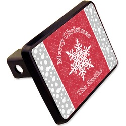 """Snowflakes Rectangular Trailer Hitch Cover - 2"""" (Personalized)"""