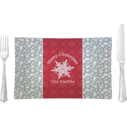 Snowflakes Glass Rectangular Lunch / Dinner Plate - Single or Set (Personalized)