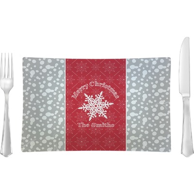 Snowflakes Rectangular Glass Lunch / Dinner Plate - Single or Set (Personalized)